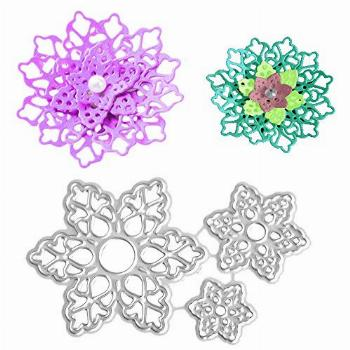 3.1 by 1.9 Inches 3 Pcs/Pack Flower Metal Cutting Dies for