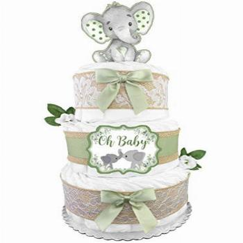 Elephant Diaper Cake - Gender Neutral Baby Gift for a Boy or