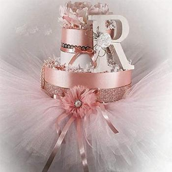 Pink and Rose Gold Champagne Diaper Cake pink and white tutu