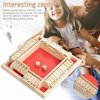 Shut The Box Dice Game Wooden (2-4 Players) for Kids &